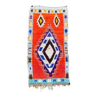 Boho Chic Moroccan Boucherouite Rug For Sale
