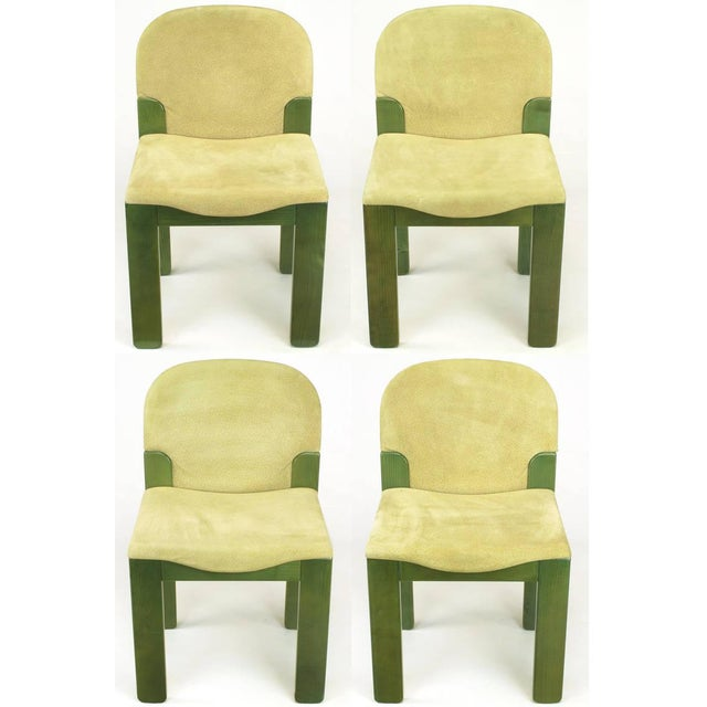 """Rare set of four Ernesto Radaelli for Saporiti Italia, oak """"Easy"""" dining chairs with suede upholstered seats and backs...."""
