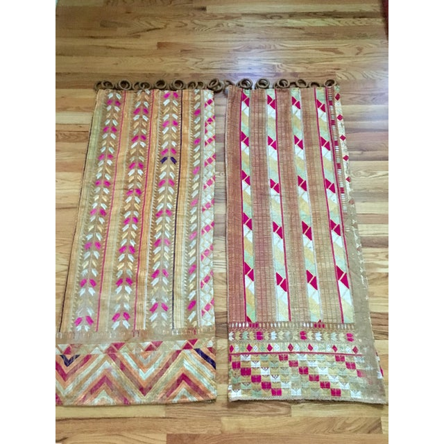 Antique Indian Phulkari Fabric Panels - A Pair - Image 9 of 12