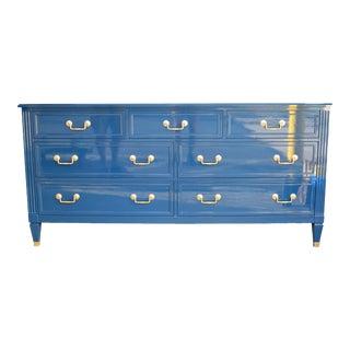 Modern High Gloss Blue and Gold Lowboy Dresser For Sale