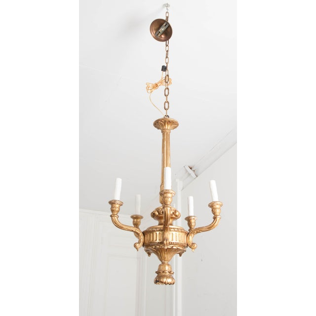 French French 19th Century Louis XVI Style Giltwood Five-Light Chandelier For Sale - Image 3 of 9