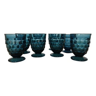 Blue Fostoria Footed Lowball Tumblers - Set of 8