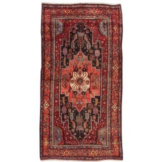 "Apadana Antique Persian Bidjar Medallion Wool Rug - 4'5"" x 9'1"" For Sale"