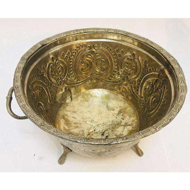 Moroccan Silver Repousse Plated Serving Dish Tajine With Cover For Sale - Image 4 of 13