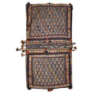 1940s Antique Persian Sumak Sadle Double Bag For Sale