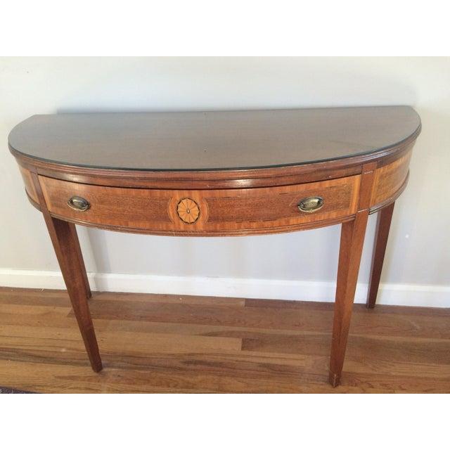 Vintage Hepplewhite Demi-Lune Table - Image 3 of 9