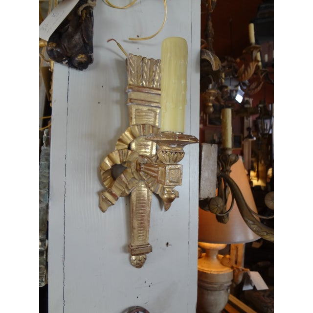Gold Pair of French Gilt Wood Sconces For Sale - Image 8 of 8