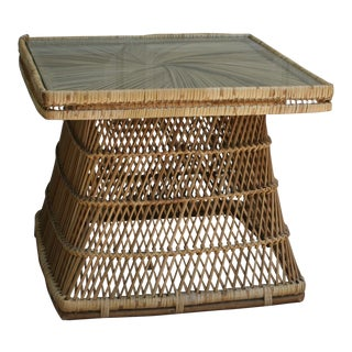 1970s Boho Chic Mehitabel Woven Rattan Glass Top Side Table
