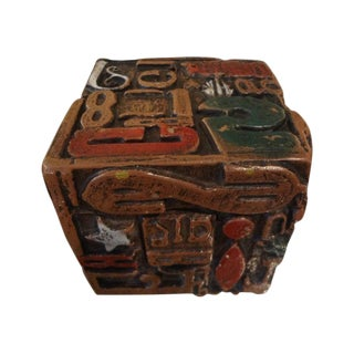 Mid Century Modern Alpha Cube Sculpture by Sheldon Rose For Sale