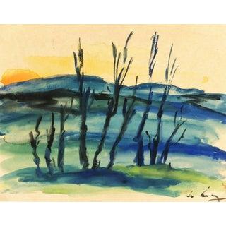 Watercolor Landscape - Setting Sun For Sale