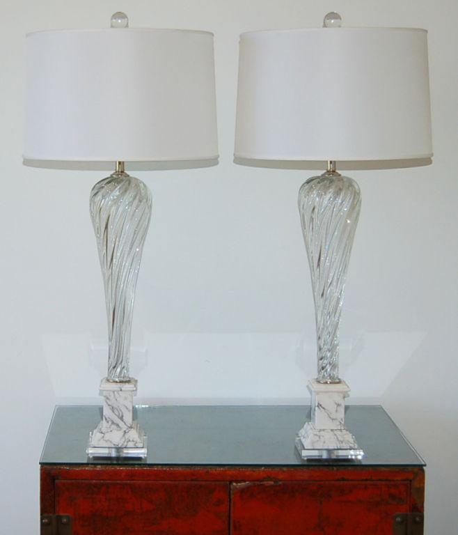 Lovely Vintage Murano Glass Table Lamps Clear Decaso