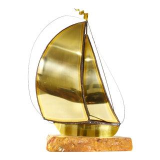 Vintage Demott Handmade Brass Sailing Boat on Marble Stone Base For Sale