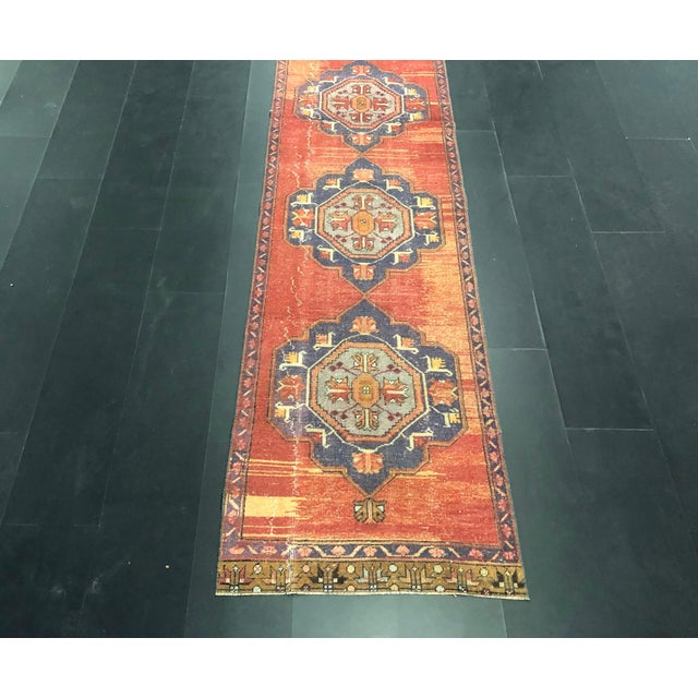1960s Boho Decorative Orange and Purple Turkish Handmade Vintage Runner Rug For Sale - Image 5 of 11