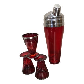 1930s Ruby Red MIX and Match Cocktail Set of 4 For Sale