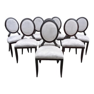 Custom Barbara Barry Style Oval Back Dining Chairs - Set of 8 For Sale