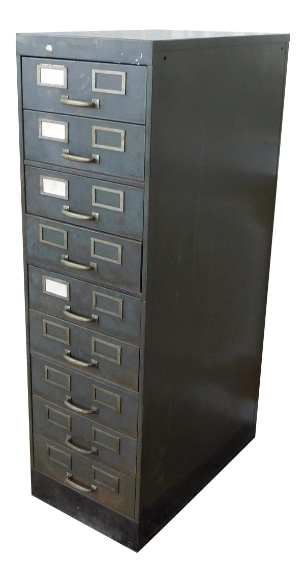 Beau 1930s Industrial Shaw Walker Steel Dual 9 Drawer Index Card Sized File  Cabinet