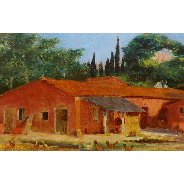 "Attributed to Morris Graves ""Farmhouse With Chickens"" Oil Painting For Sale - Image 4 of 10"