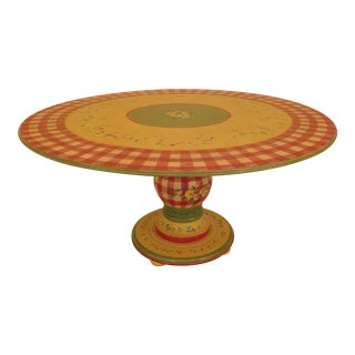 French Country Paint Decorated Round Dining Table