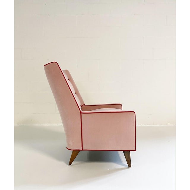 Mid 20th Century Paul McCobb Style Lounge Chair in Schumacher Velvet and Loro Piana Cashmere For Sale - Image 5 of 8