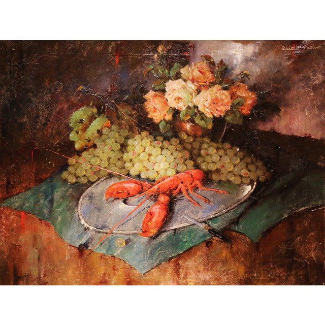 Add rich, vibrant colors to your home with this large, domestic still-life painting. This oil on canvas was created in...
