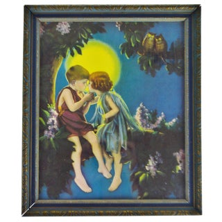 Vintage Framed Print of Children on Tree Branch Under Moonlight For Sale