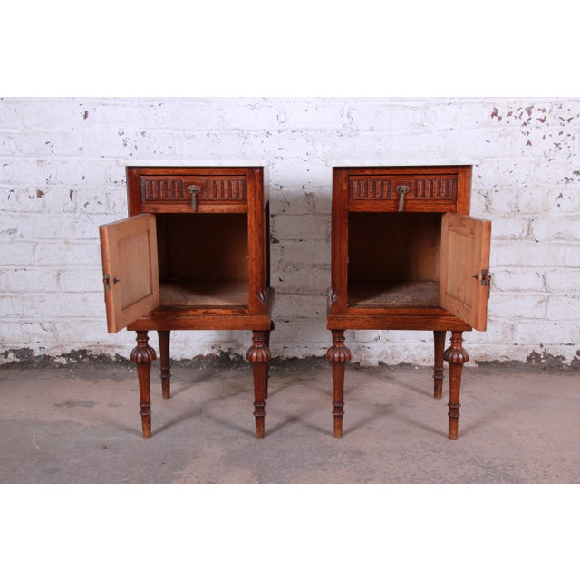 19th Century Victorian Carved Oak Marble Top Nightstands - a Pair For Sale - Image 9 of 13