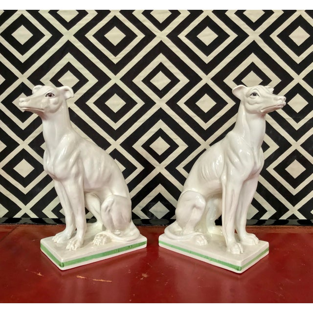 Hollywood Regency Blanc De Chine Italian Greyhound's , a Pair For Sale - Image 3 of 13