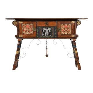 Gothic Revival Style Dragon Motif Brass and Leather Accent Mahogany Oak Credenza For Sale