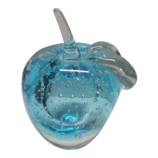 1980s Vintage Murano Glass Apple Paper Weight For Sale