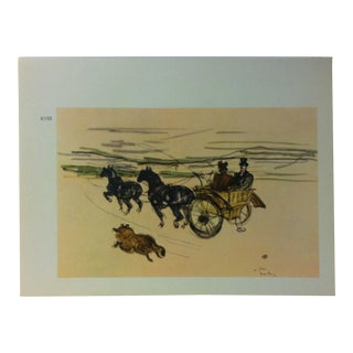 """Circa 1980 """"English Carriage 1897"""" Color Print of a Toulouse-Lautrec Drawing For Sale"""