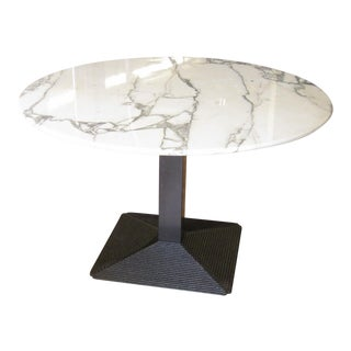 "1970's B&B Italia ""Piediferro"" Marble Top Pedestal Dining Table For Sale"