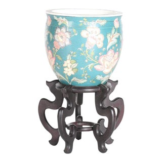 Vintage Chinese Ceramic Planter on Stand