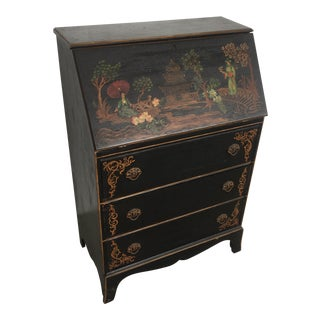 Vintage Painted Chinoiserie Painted Secretary Desk For Sale