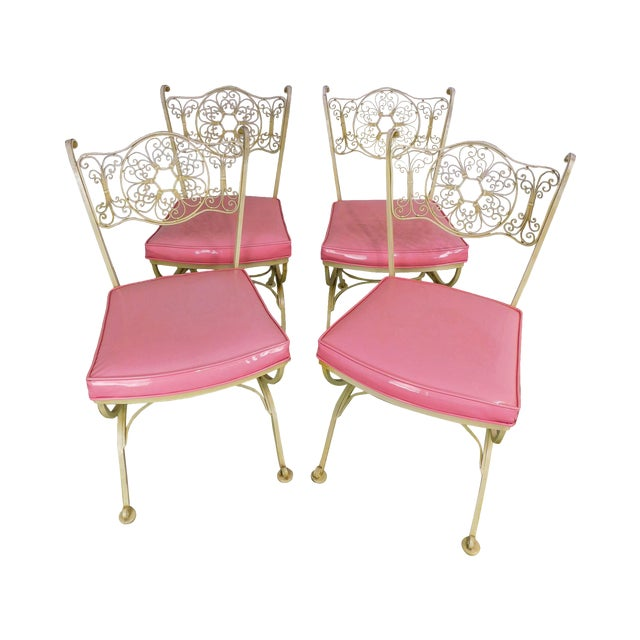 Vintage Set of 4 Woodard Andalusian Wrought Iron Scroll Back Chairs For Sale