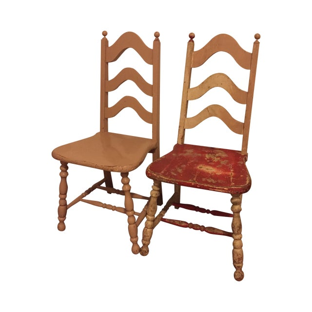 Vintage Shabby Chic Chairs - A Pair - Image 1 of 6
