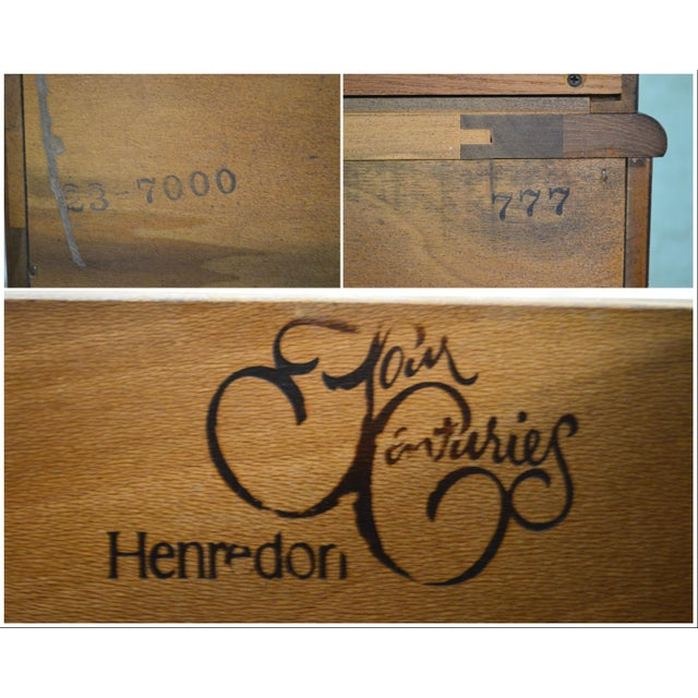 1980s Henredon Four Centuries Baroque Style Bombe Oak Secretary Desk For Sale - Image 5 of 12