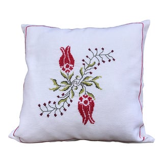 Handcrafted Embroidered Decorative Cushion Pillow For Sale