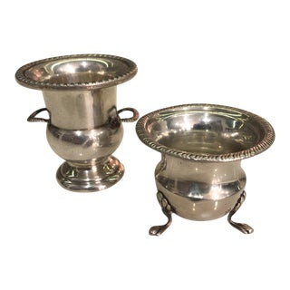 Vintage Sterling Silver Miniature Wine Coolers/Urns - a Pair For Sale
