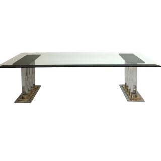 Romeo Rega-Style Lucite & Brass Coffee Table For Sale