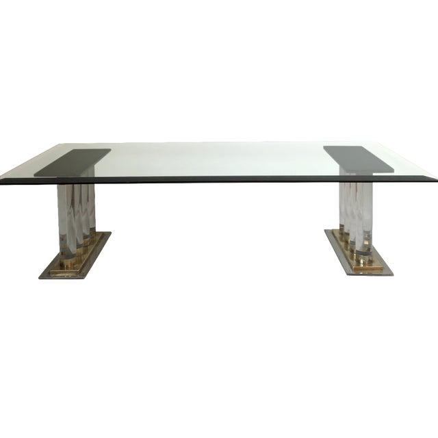 Romeo Rega-Style Lucite & Brass Coffee Table - Image 1 of 7