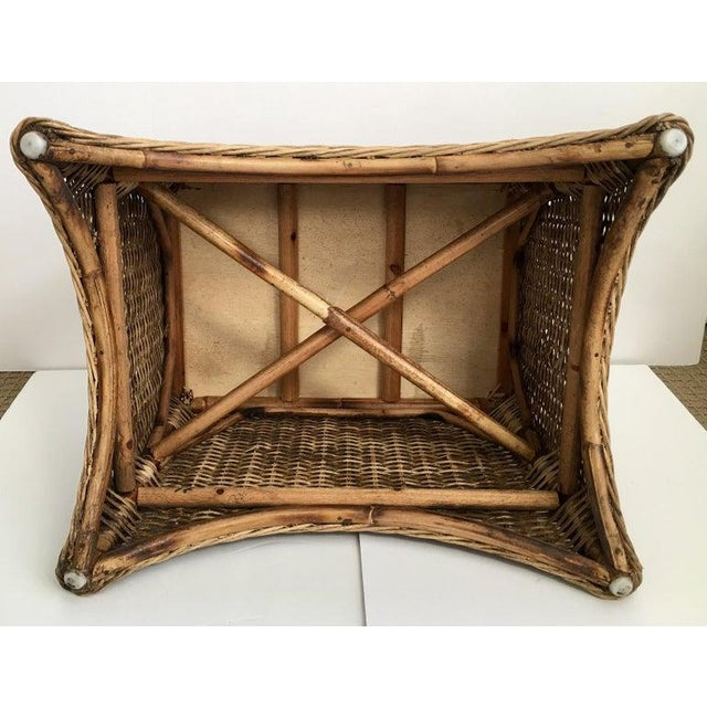 Brown Sculptural Draped Wicker Bench With Animal Print Cushion For Sale - Image 8 of 9