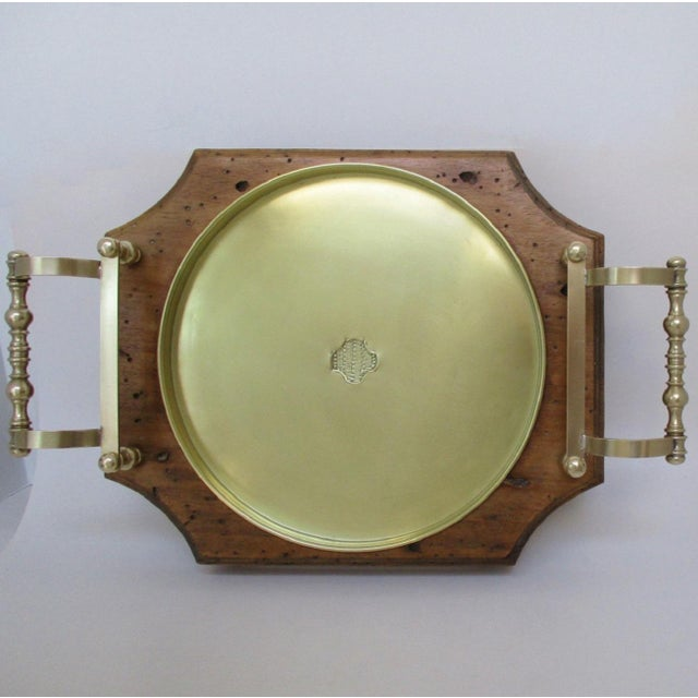 Late 20th Century Wood & Brass Serving Tray For Sale - Image 5 of 8