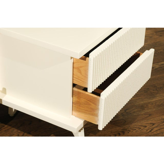 1938 Pair of Restored End Tables by Widdicomb in Cream Lacquer For Sale - Image 9 of 13