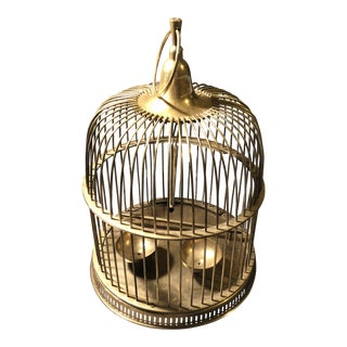 Mid-Century Dome Top Brass Bird Cage With Perch and Feeding Bowls For Sale