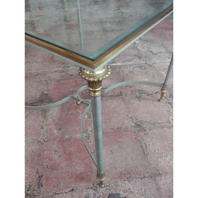 Brass Vintage Brass French Side Tables W/Square Glass Top- a Pair For Sale - Image 7 of 10