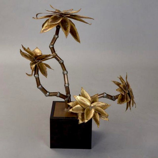 French Mid Century Brass Metal Flower Sculpture in Manner of Maison Jansen For Sale - Image 3 of 6