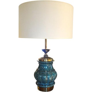 Oversized Stiffel Ceramic Blue Lamp For Sale
