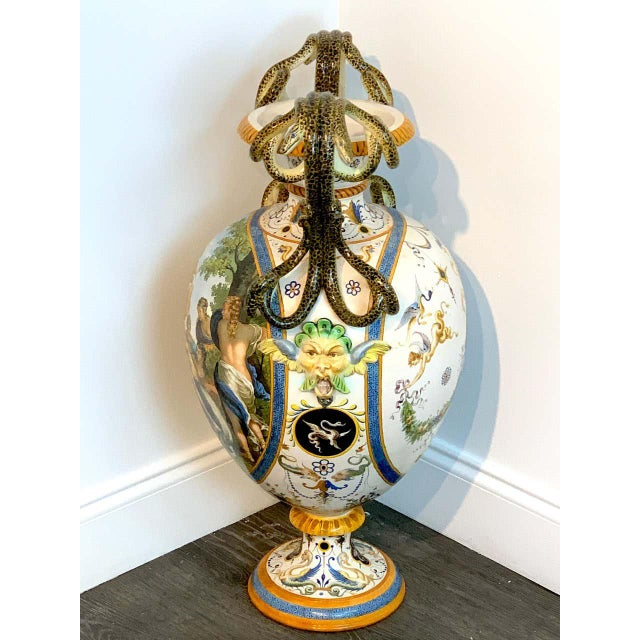 Early 20th Century Stunning Ginori Majolica Allegorical Serpent Handled Vase For Sale - Image 5 of 13