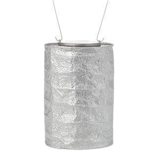 Soji Stella Outdoor Solar Powered Cylinder Lantern in Silver For Sale