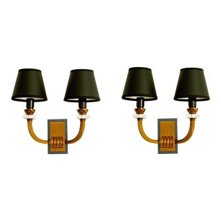 Vintage Jacques Adnet Sconces - a Pair